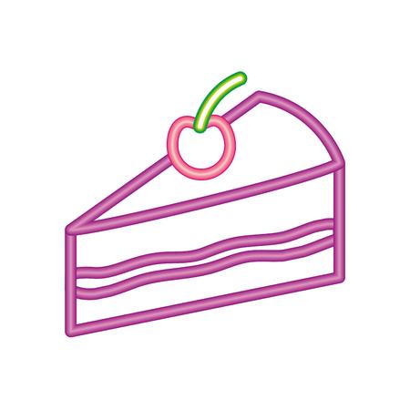 neon sweet piece cake birthday tasty vector illustration Illusztráció