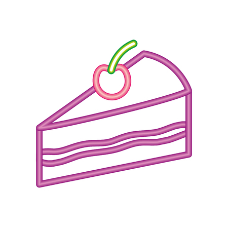 neon sweet piece cake birthday tasty vector illustration Illustration