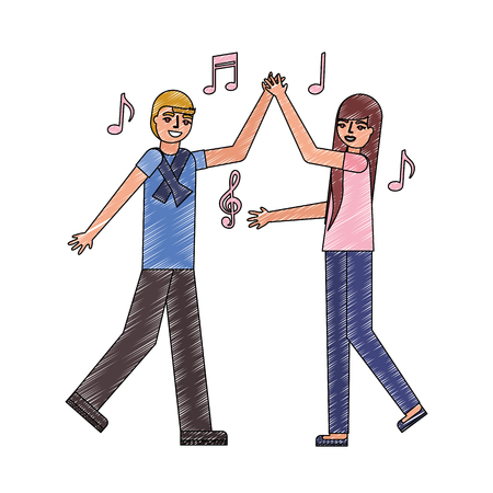 young couple dancing avatar character vector illustration design