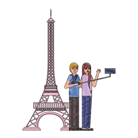 young couple in tower paris avatar character vector illustration design