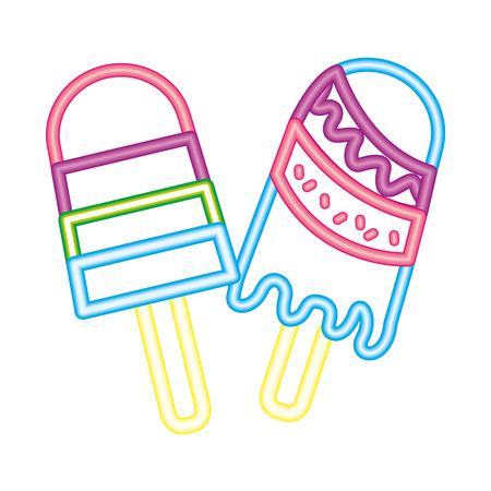 two neon delicious ice cream frozen vector illustration