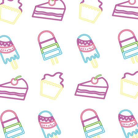 neon pattern cupcake cake and ice cream vector illustration