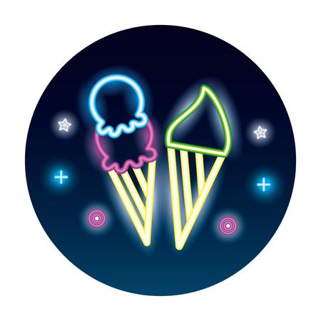 zwei Neon köstliche Eistüte helle Vektorillustration