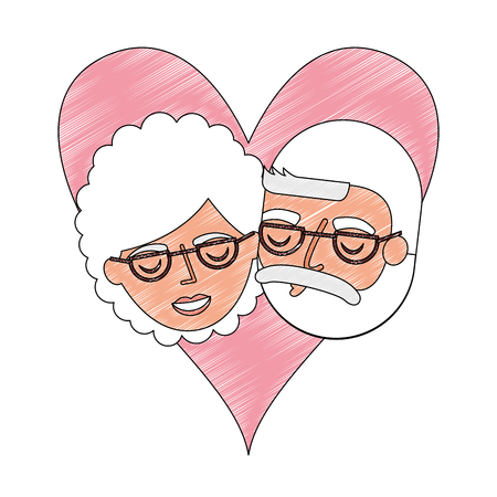 grandparents couple in heart characters vector illustration design