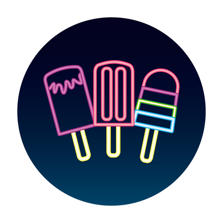 neon glow three ice cream vector illustration Stock Illustratie