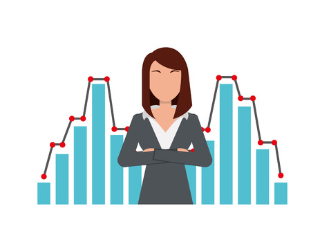 businesswoman financial statistic chart report vector illustration