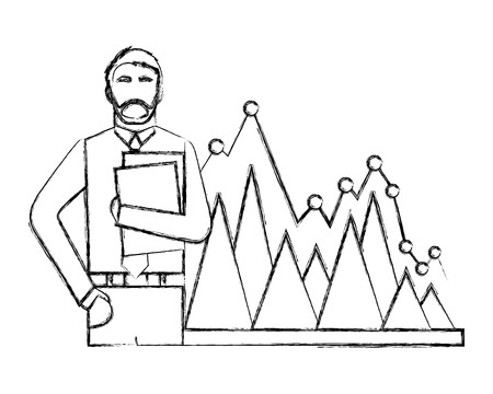 businessman with folder papers and statistic chart business vector illustration hand drawing