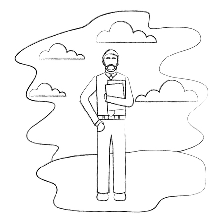 bearded businessman holding folder in outdoors vector illustration hand drawing Illustration