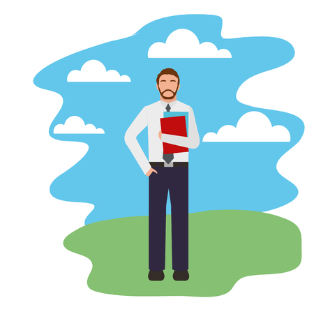 bearded businessman holding folder in outdoors vector illustration