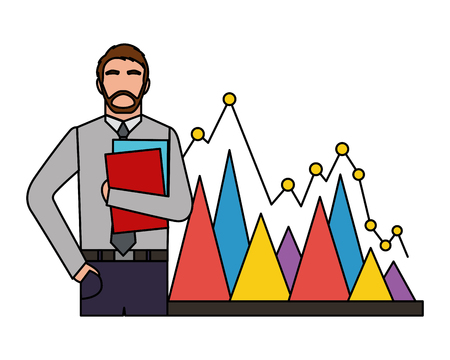 businessman with folder papers and statistic chart business vector illustration Standard-Bild - 109952834