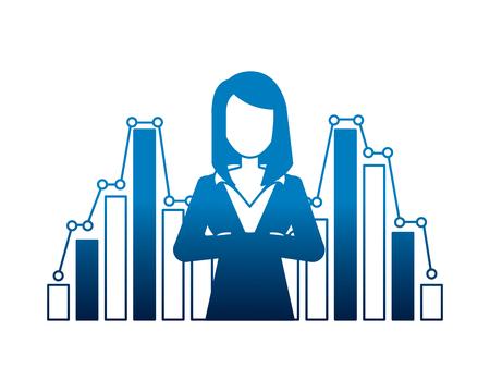 businesswoman financial statistic chart report vector illustration neon