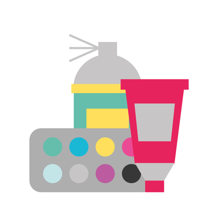 graphic design spray color tool tube and palette vector illustration
