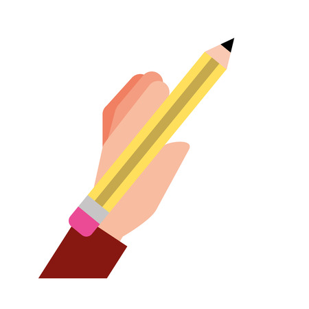 graphic design hand holding pencil vector illustration Illusztráció