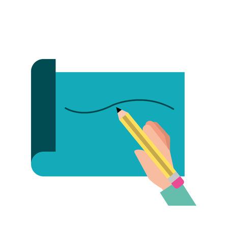 hand holding pencil drawn line on paper vector illustration Ilustração