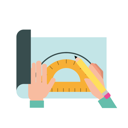 graphic designer hands working with protractor and pencil vector illustration