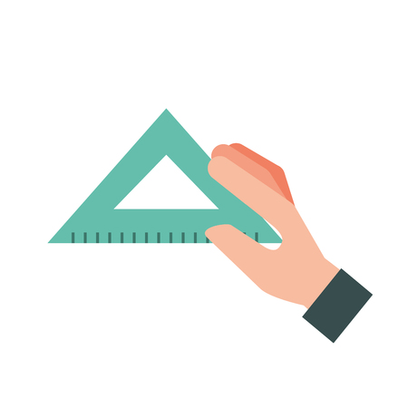 hand holding triangle ruler supply vector illustration 向量圖像