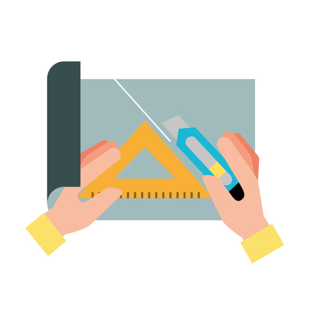 hands with cutter and triangle ruler cut paper vector illustration 向量圖像