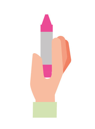 hand holding crayon pen color vector illustration