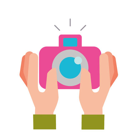 hands holding photographic camera gadget vector illustration