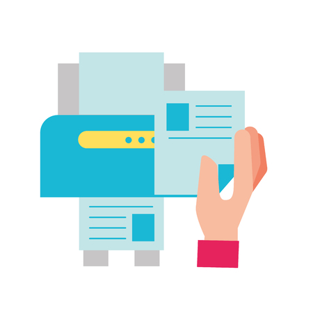 hand holding paper copy printer machine vector illustration