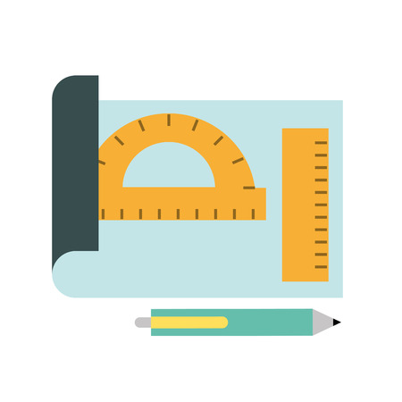graphic design sheet protractor ruler and pen vector illustration Banque d'images - 109913962