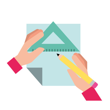graphic designer hands with pencil ruler triangle and paper vector illustration Vetores