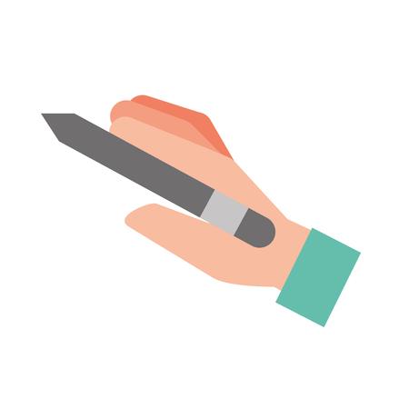 graphic designer hand holding pen tool vector illustration Illustration