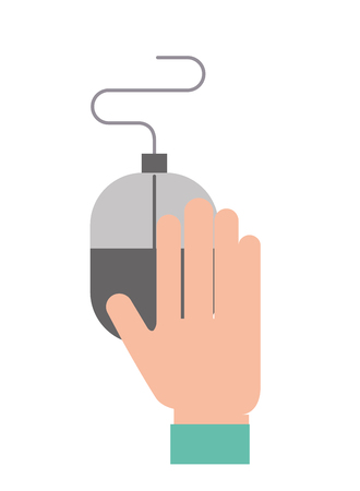 hand holding mouse device equipment vector illustration Illustration