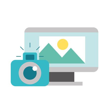 computer screen photographic camera photo vector illustration
