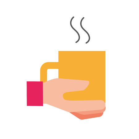 hand holding coffee cup hot beverage vector illustration  イラスト・ベクター素材