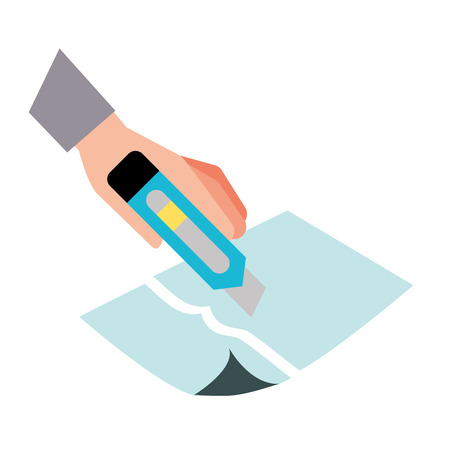 hand with the tool cutting a paper vector illustration Illusztráció