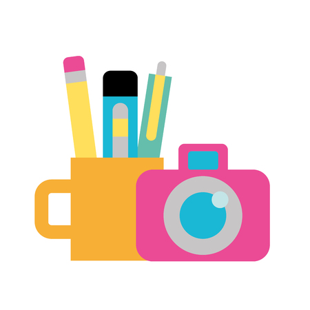 graphic design photographic camera and supplies vector illustration