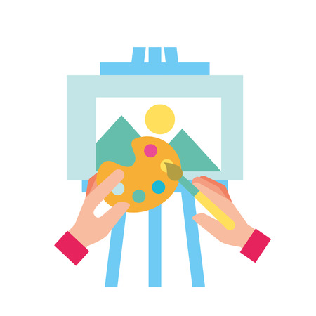 hands painting with color palette and brush on the board vector illustration Archivio Fotografico - 109913996