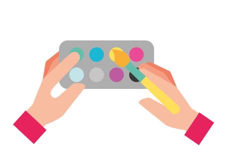 hands holding brush artistic color palette vector illustration