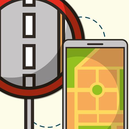 post street smartphone ubication connection vector illustration Illustration