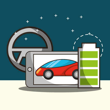 autonomous car smartphone screen motorcar battery steering wheel vector illustration Illustration