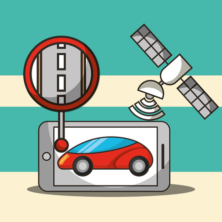 autonomous car satelite signal post street smartphone vector illustration