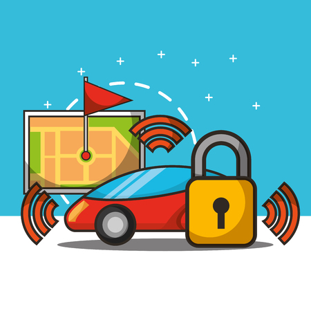 autonomous car signal padlock tablet screen ubication flag vector illustration