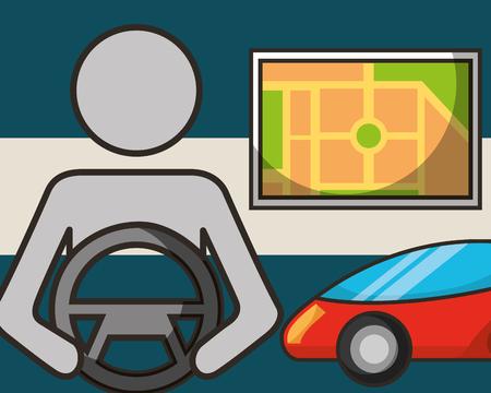 autonomous car male driving screen ubication driving vector illustration