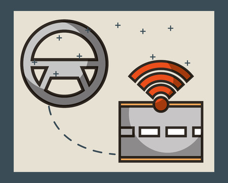 autonomous car steering wheel connection screen street signal vector illustration