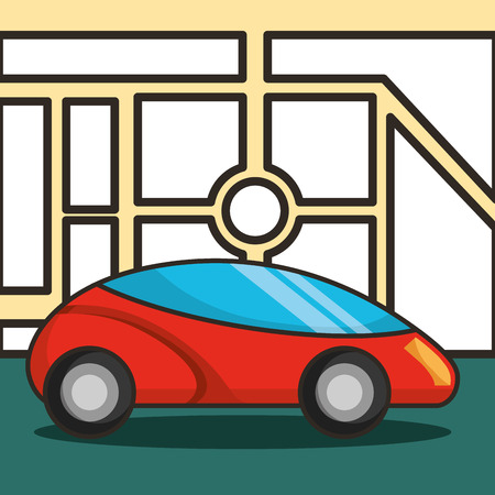 autonomous car location motorcar driving vector illustration