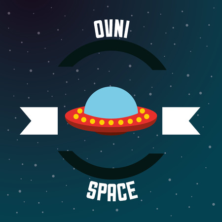 space solar system ovni ufo ribbon stars vector illustration