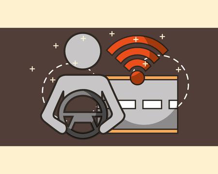 autonomous car male holding steering wheel screen signal street vector illustration Illustration