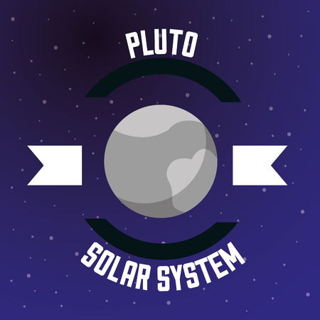 space solar system pluto ribbon sign stars vector illustration Ilustrace