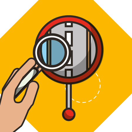 autonomous car hand holding magnifying glass looking post street vector illustration