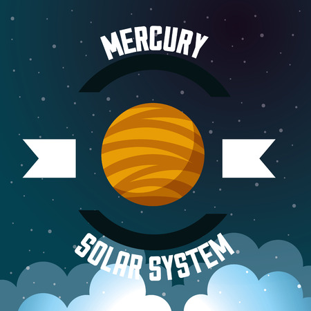 space solar system mercury clouds stars background vector illustration Иллюстрация