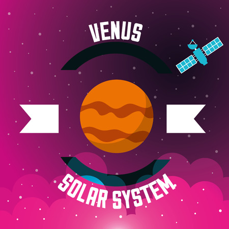 space solar system venus satelite clouds stars background vector illustration