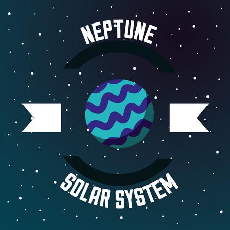 Las estrellas de neptuno del sistema solar espacial degradan la ilustración de vector de fondo