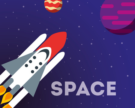 space solar system planets rocket exploration sign vector illustration Illusztráció