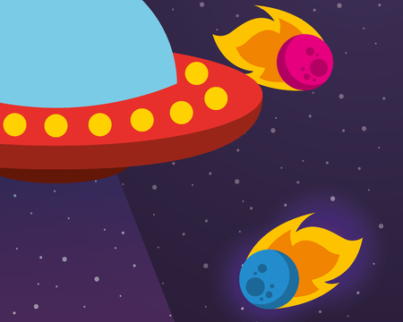 space ovni ufo asteroids colors stars vector illustration Illustration